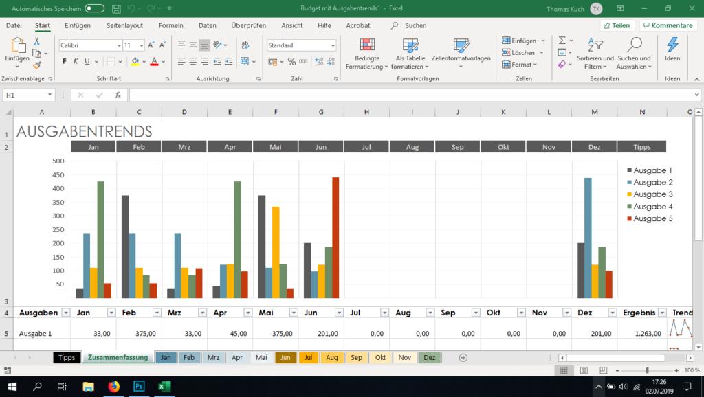 Screenshot Microsoft Office Excel