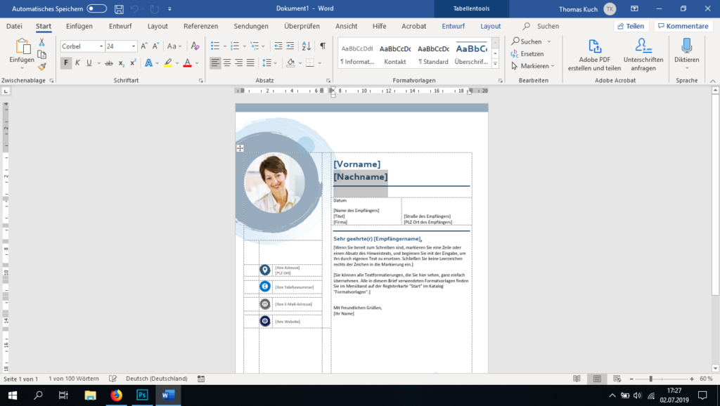 Screenshot Microsoft Office Word