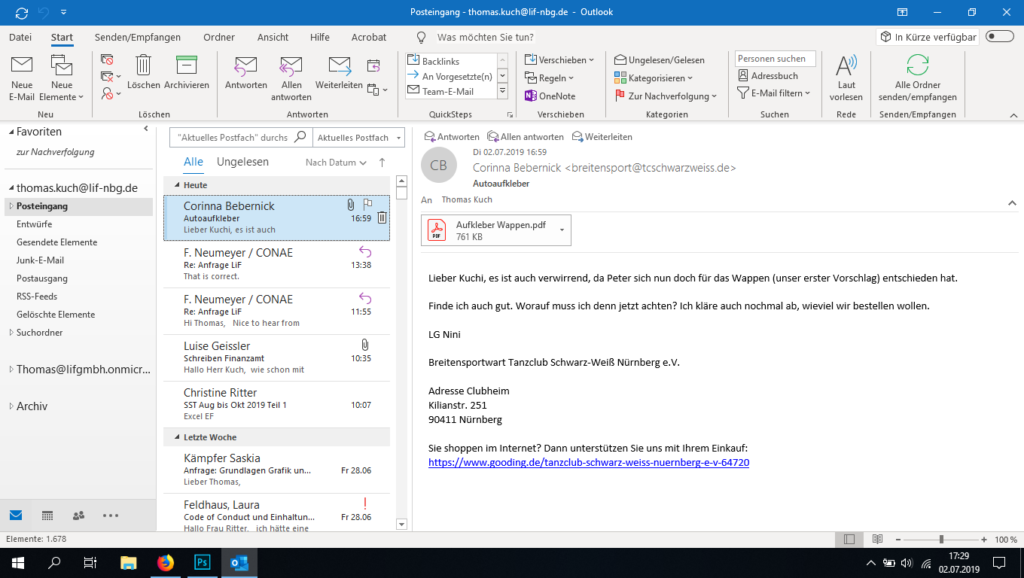 Screenshot Microsoft Office Outlook